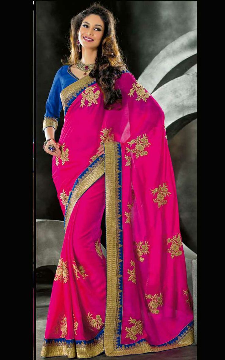 PINK & BLUE ART SILK LATEST SAREE - VAL 5314