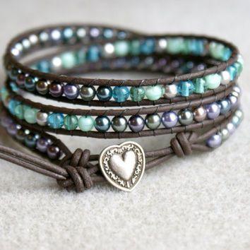 Metalic Rain Bohemian beaded leather wrap bracelet, 3x Wrap, Chan Luu style, green