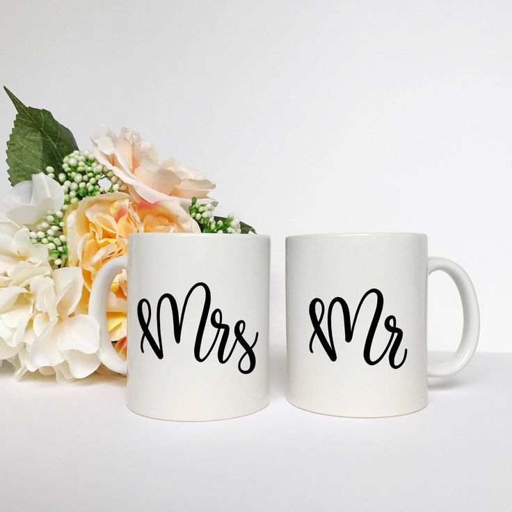 Mr and Mrs Coffee Mug Set - Mr and Mrs, Wedding Gift, Coffee Mug by TheLovelyLetteringCo on Etsy