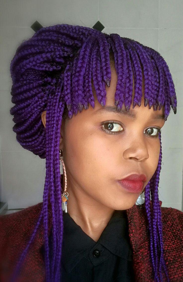Box braids with bangs @nonjabulosa #colorfulhair #rainbowhair #southafrica #bangs #boxbraids ...