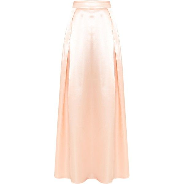 Ruthie Light Peach Satin Maxi Prom Skirt ❤ liked on Polyvore featuring skirts, satin skirt, pink maxi skirt, long pink maxi skirt, maxi length skirts and prom skirt