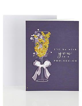Open Recipient Birthday Card with Beautiful Prosecco Flute Design