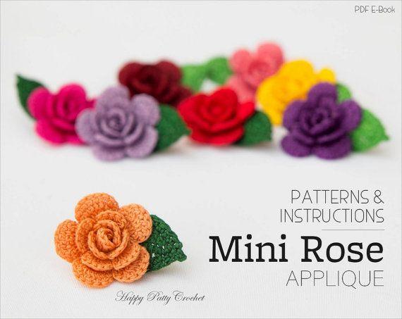 Crochet Mini Rose Pattern Crochet Flower by HappyPattyCrochet