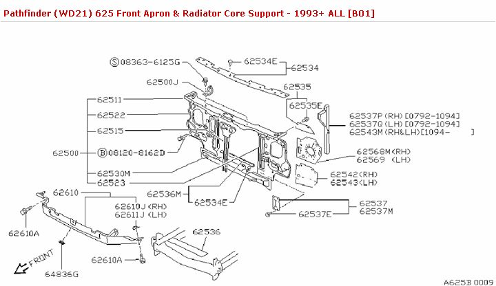 625 Front Apron & Radiator Core Support :: Body(Front,Roof & Floor) :: Genuine Nissan Parts :: Pathfinder Parts (WD21) 1987-1995 :: Nissan Parts, NISMO and Nissan Accessories - Courtesyparts.com