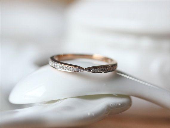 Nice MILGRAIN Rose Gold Wedding Band Channel setting diamond band diamond wedding ring by ByLaris