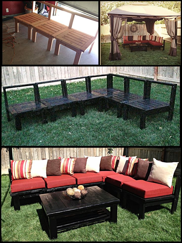 Diy patio furniture my husband made this sectional sofa for Outdoor deck furniture ideas
