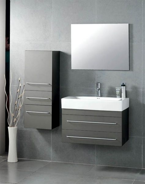 "grey bathroom cabinets | 27"" Antonio Contemporary Grey Bathroom Vanity Set"