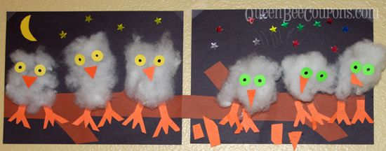 Easy Owl Craft for Kids – Make your own line-up of owls, using cotton batting