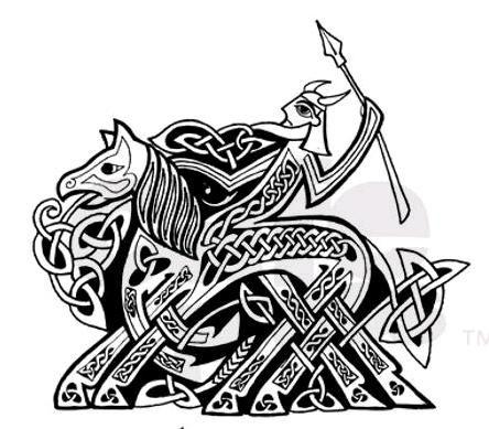 Odin riding Sleipnir, his eight-legged horse. He holds Gungnir, the spear that never misses its intended target.