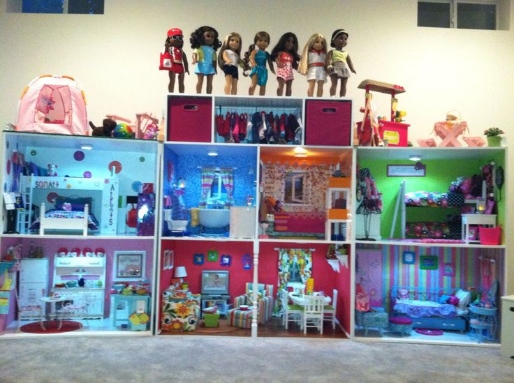 American Girl Doll House. Structure built by mom's co-worker and her husband ( many thanks to them!) It has been so much fun collecting and decorating over the last 3 years. The house has provided countless hours of enjoyment and it provides a wonderful storage area for all her AG stuff!