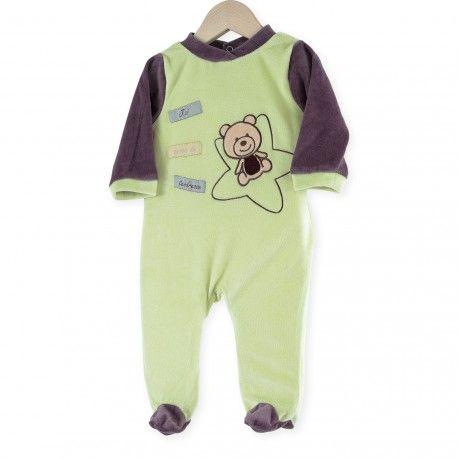 "Pijama ""Osito"" #pijama #bebe #osito #verde #marron #kinousses"