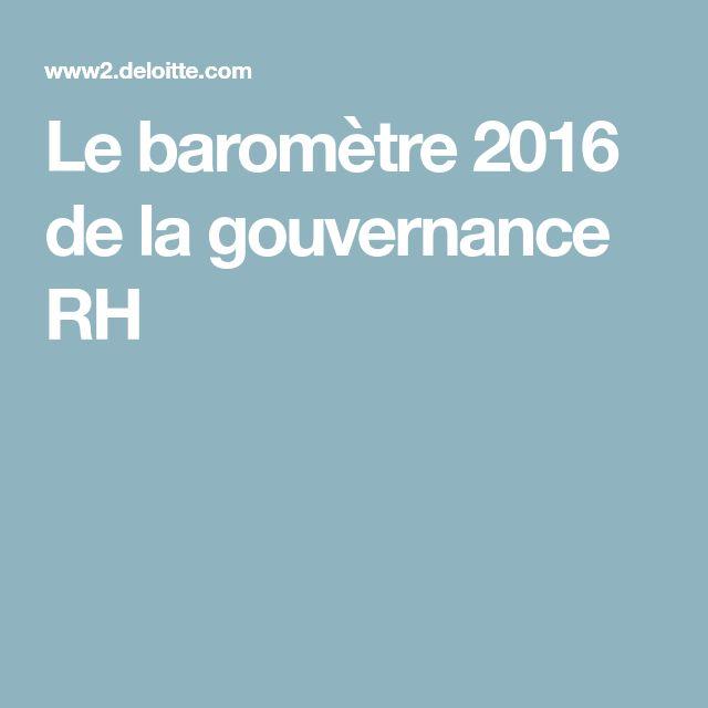 Le baromètre 2016 de la gouvernance RH
