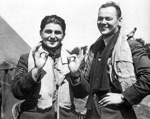 Toni Główacki & Stefan Witorzeńć while with 501 Squadron. Glowacki shot down his first plane on 15 Aug. 1940 & on 24 Aug. became only the second pilot during the Battle of Britain to shoot down 5 in one day. He later seved with 303 & 308 Polish Squadrons, was with the US 9th Air Force with 356th Fighter Squadron & then Officer Commanding 309 Polish Squadron. He was the only Polish Pilot who rose from the rank of Sergeant to command a squadron.