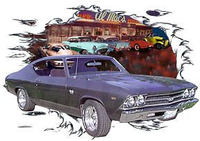 1969 Gray Chevy Chevelle SS a Custom Hot Rod Diner T-Shirt 69, Muscle Car Tee's #BurnoutGear #SeeListingSelection