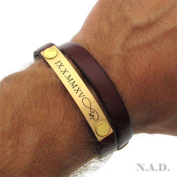 Personalized Leather Bracelet - Mens Birthday Gift - Wrap Bracelet - Fiance Gift #NadinArtDesign #IDIdentification