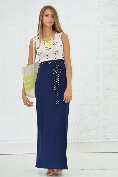 421ae669116 Navy Anchor Maxi Dress - My Sisters Closet