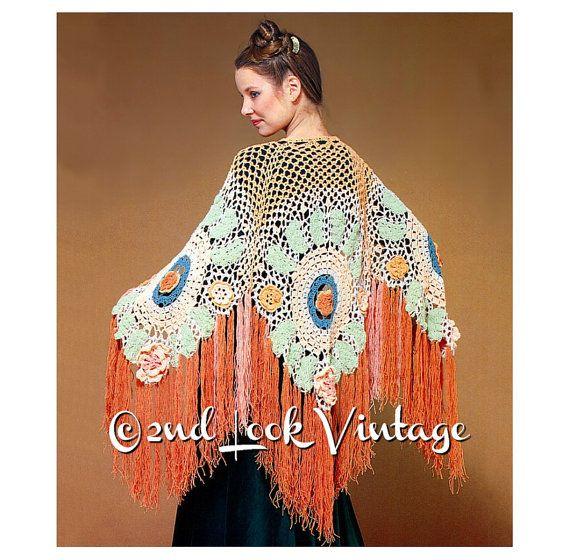 Vintage gehaakt patroon jaren 1970 bloem Fringe door 2ndlookvintage