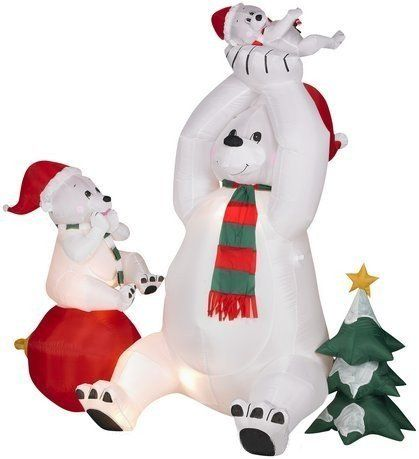 6ft airblown inflatable animated christmas polar bears by for Animated polar bear christmas decoration