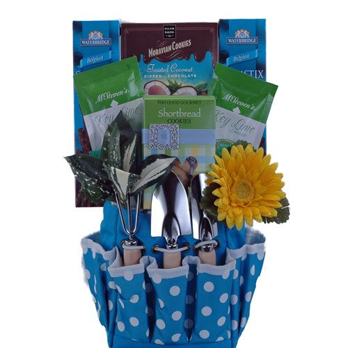 Does Mom have a gardening thumb and a sweet tooth? Our Lydia Mother's Day Gift Basket will sure be a delight for Mom! Tucked inside the cute gardening bag are tasty treats including milk chocolate sticks, chocolate dipped coconut cookies, refreshing key lime lemonade, bite size shortbread cookies, gourmet granola cereal mix and chocolate mints.