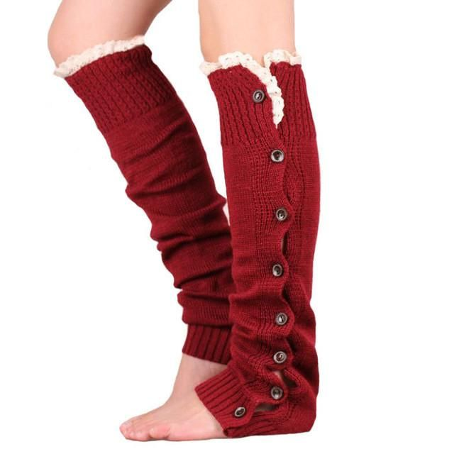 Women Knee High Lace Trim Button Down Crochet Leg Warmers Knitted Boot Sock Faster Delivery