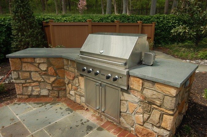 Outdoor Kitchen Incorporates Durable Concrete Countertop Featured 6 13 13 Liquid Stone