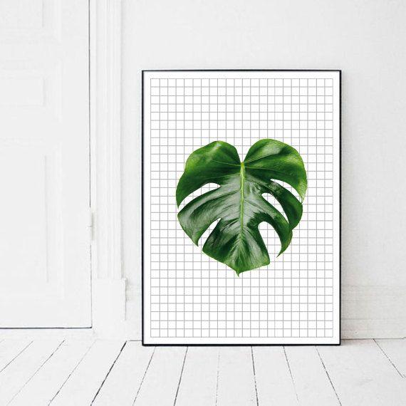 Monstera Plant printable palm leaf Monstera by PrintsMiuusStudio