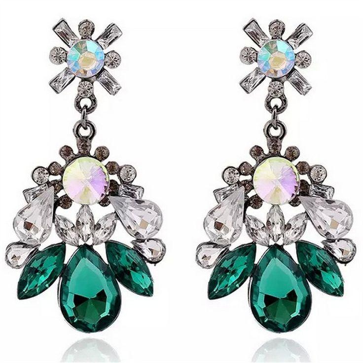 Vintage Crystal Rhinestone Earrings Jewelry European Brand Design Pendant Earrings Big Earrings for Ladies MJ-56