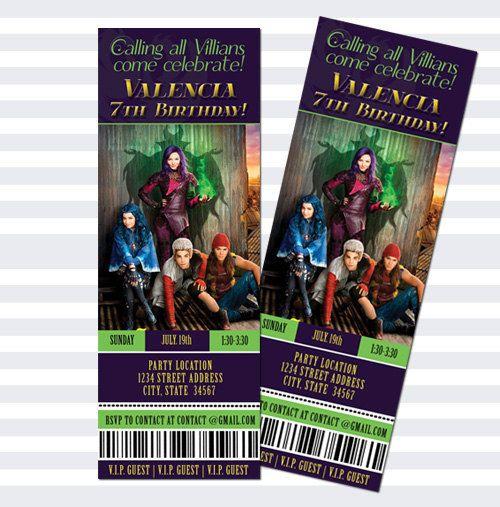 These Disney Descendants Movie Ticket Invites By