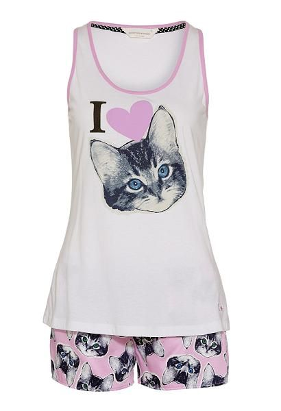 I Love Cats Pj Set If you love cats, you'll love this I Love Cats pyjama set. Set consists of a white tank top with a large cat paint print and matching sleep shorts featuring an exposed P.A logo waistband and button down fly. Set comes with matching gift box. Line Number 813867 Fabric 100% Cotton