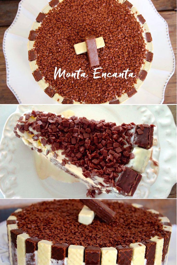 orvetão de Bis é uma Torta de Sorvete, deliciosa e leva só 3 ingredientes: sorvete, brigadeiro e bis.  Uma explosão de sensações na boca, a cada mordida!  O geladinho do sorvete, ganha  a cremosidade do brigadeiro e o crocante do bis… wow … gostosa  demais e super fácil de fazer, basta intercalar  o chocolate bis branco e preto, na lateral da forma, colocar uma camada de sorvete de creme, o brigadeiro como recheio fechar  com outra de sorvete e decorar com chocolate granulado.  Tem  com um…