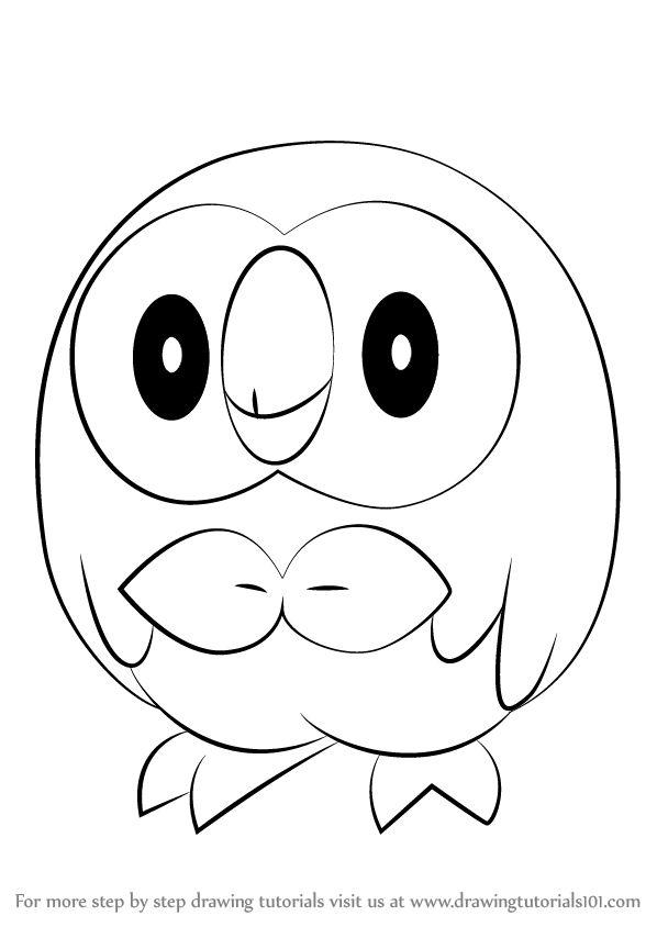 How To Draw Rowlet From Pokemon Drawingtutorials101 Com Pok 233 Mon Pinterest Pok 233 Mon