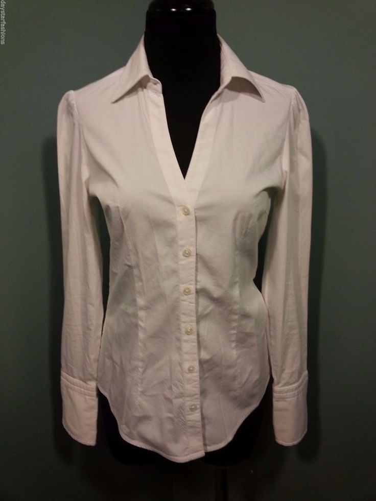Express Design Studio White Cotton Stretch Long Sleeve Suit Dress Blouse XS Euc #Express #Blouse #DressCareer #daystarfashions $9.99 FREE SHIP