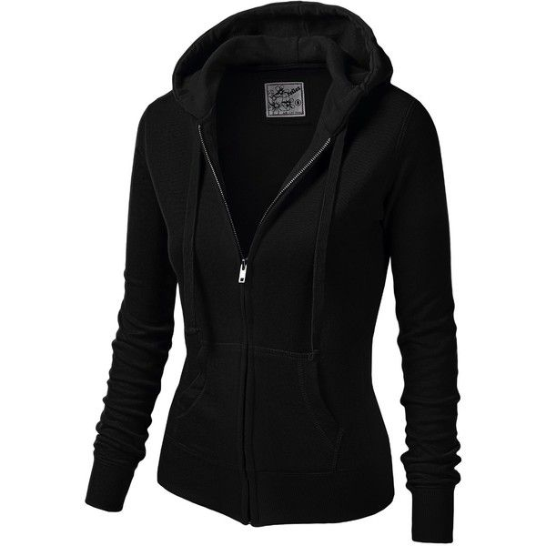 J.TOMSON Womens Athletic Long Sleeve Zip-Up Hoodie (180 ARS) ❤ liked on Polyvore featuring tops, hoodies, jackets, outerwear, sweaters, long sleeve hoodies, long sleeve hoodie, hooded pullover, hooded zip up sweatshirt and black top