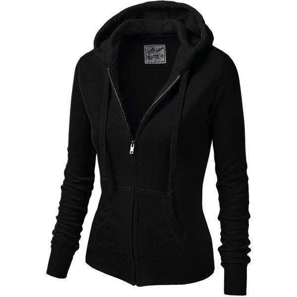 J.TOMSON Womens Athletic Long Sleeve Zip-Up Hoodie (180 ARS) ❤ liked on Polyvore featuring tops, hoodies, jackets, outerwear, sweaters, long sleeve hoodies, long sleeve hoodie, hooded pullover, hooded zip up sweatshirt and black top