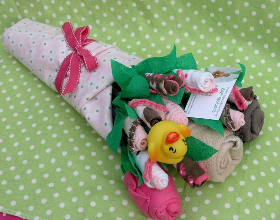 Baby Clothes Bouquet for Girls: Unique Baby Shower Gift. via Etsy #girlbabyshower #babyshower