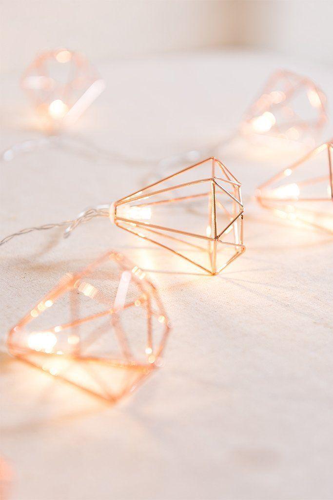 Apr 2, 2020 – Geometric Diamond Fairy Lights – Rose Gold #fairylights Geometric Diamond …, #Diamond #Fairy #fairylight…