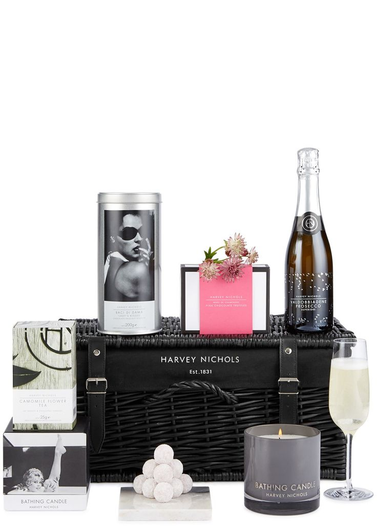 Make way for some much-needed me time. Prosecco plus candlelight and pink Champagne truffles is just what the doctor ordered. Follow with a steaming mug of camomile tea and you'll be fast asleep before you can even think about counting sheep.  Harvey Nichols Prosecco 375ml Harvey Nichols Bathing Candle Harvey Nichols Camomile Tea 25 bags Harvey Nichols Baci Di Dama Biscuits 200g Harvey Nichols Pink Marc de Champagne Truffles 12pcs