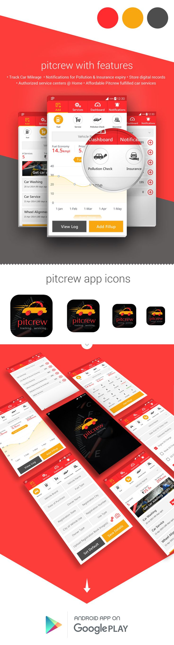 Pitcrew is a car servicing tracking app