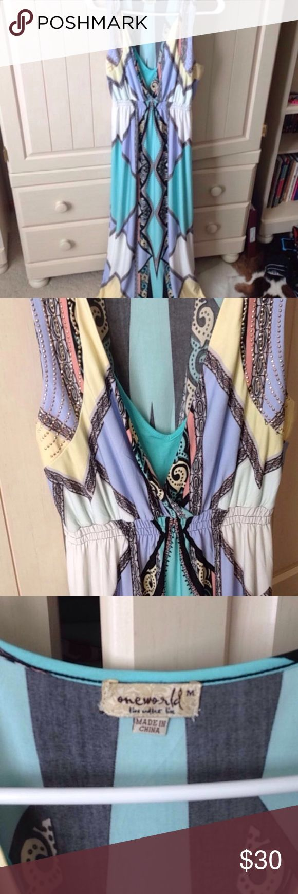 Pastel maxi dress Cute maxi dress with pastel colors. It has a little bit of beading on the top and is in great condition Dresses Maxi