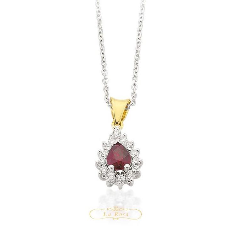 Pandantivul LRY264 alatura pietrele pretioase intr-un design deosebit. In combinatie de aur alb si aur galben, cu diamante si rubin, pretul pandantivului LRY264 este 3283 lei.  http://www.bijuteriilarosa.ro/bijuterii-cu-diamant/pandantive/pandantiv-lry264