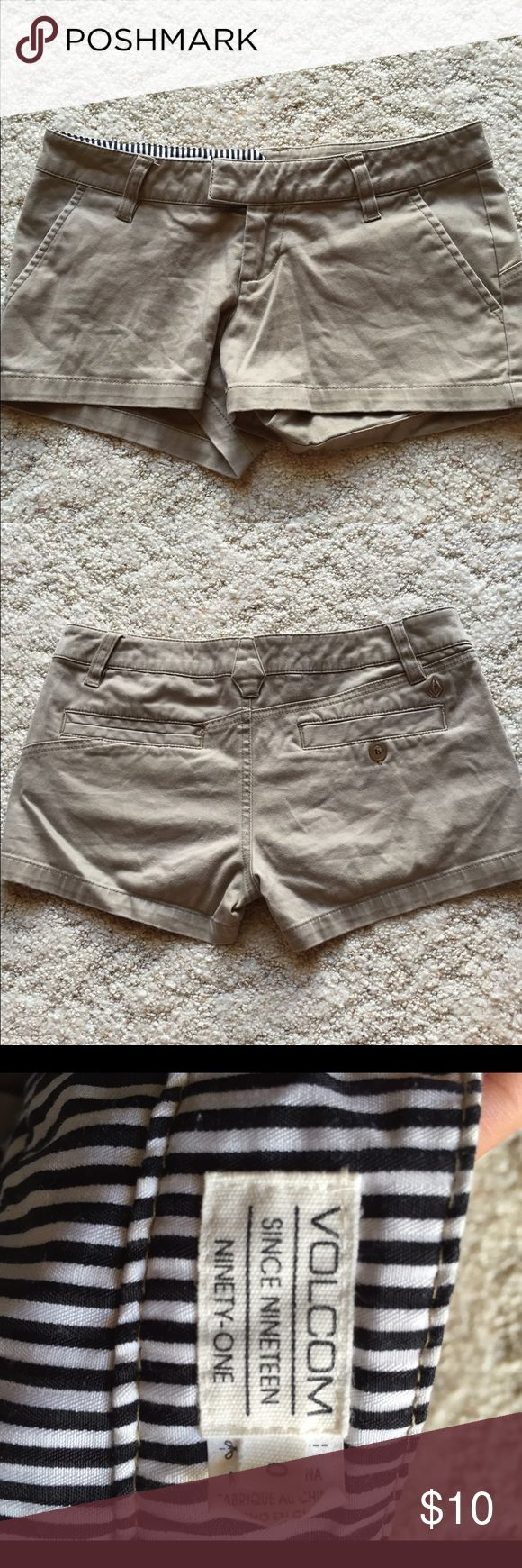 Volcom Women's Khaki Shorts Worn a few times, but still in pretty good condition. Size 0. Short but cute! Volcom Shorts