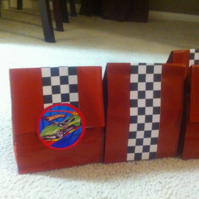 Hot wheels birthday goodie bags I did for my sons birthday party.