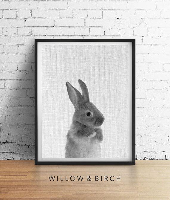 Printable Art RABBIT Print Woodland Bunny by WillowandBirchPrints