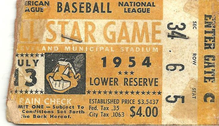 1954 All-Star Game ticket stub -- Cleveland Municipal Stadium