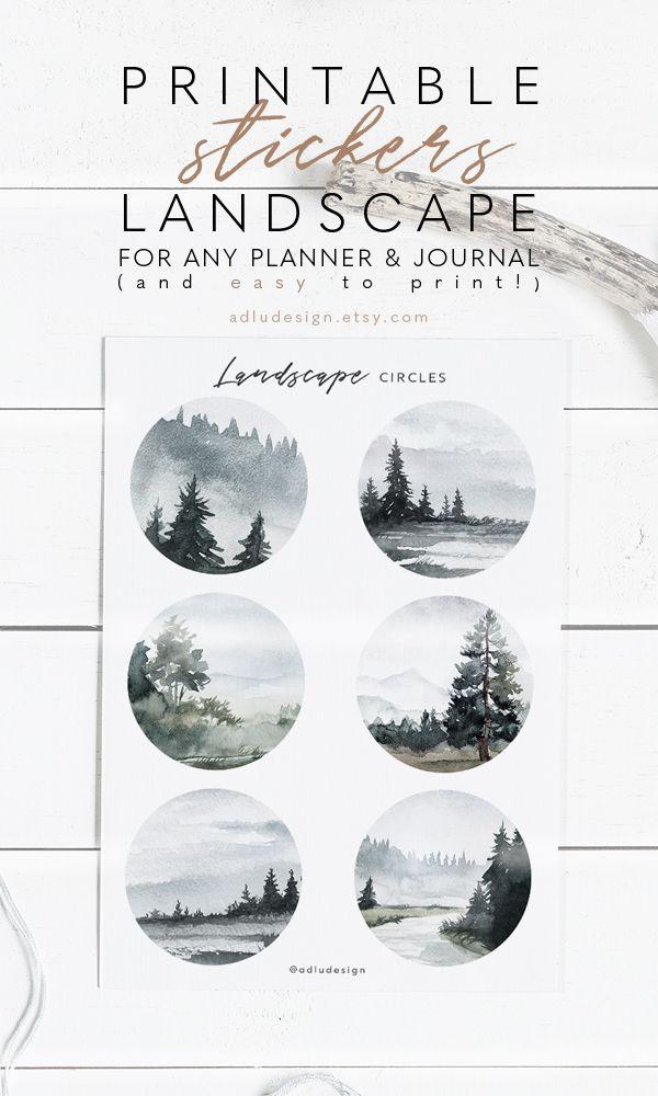 Landscape Stickers Printable Bullet Journal Stickers Minimal