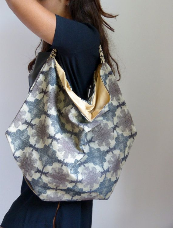 Carry all oversized slouchy upholstery fabric hobo by vquadroitaly