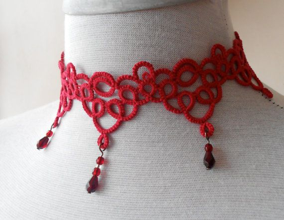 Red tatted necklace  choker  Art Deco by SILHUETTE on Etsy, $50.00