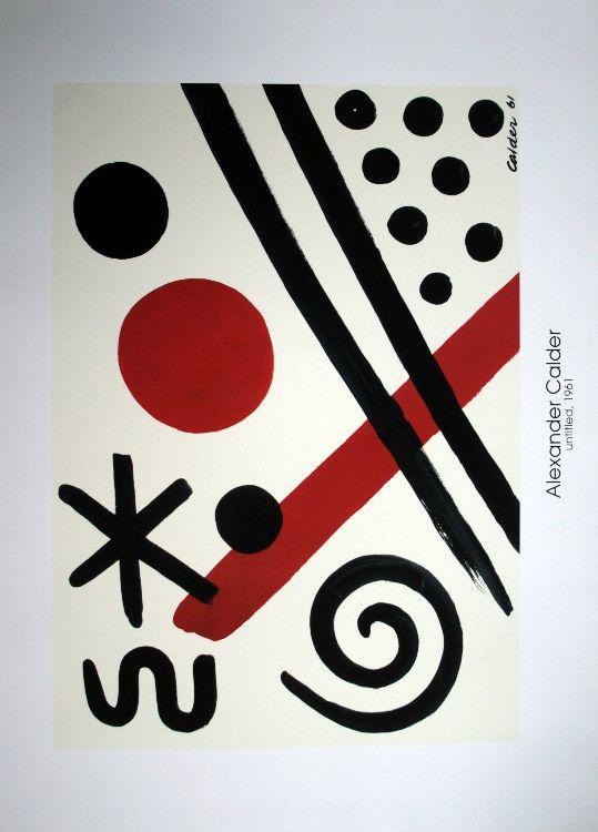 """Alexandre CALDER : """"Sin titulo 1961"""" Reproducción según la obra realizada en 1961 Sobre un hermoso papel espeso Dimensiones : 91 x 66 cm"""