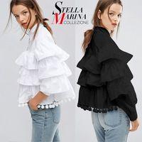 Новый 2017 Европейская Мода Женщины Топы Повседневная Черный Белый Оборками Рубашки Блузки Фонарь Рукав Шары Fringe Хлопок Мило Рубашка 1619