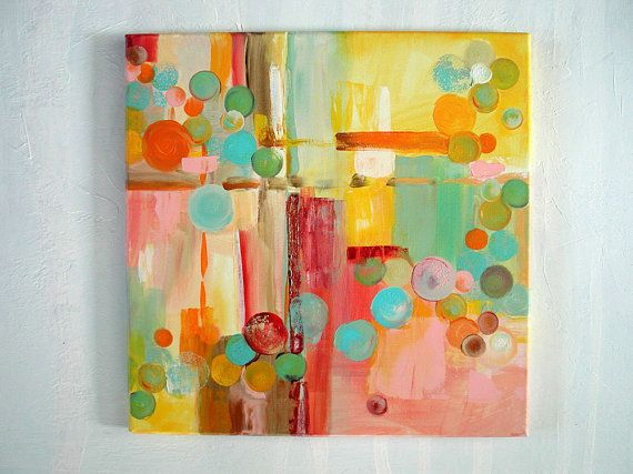 Original Abstract Painting Square 16x16 Canvas By LindaSuzStudios